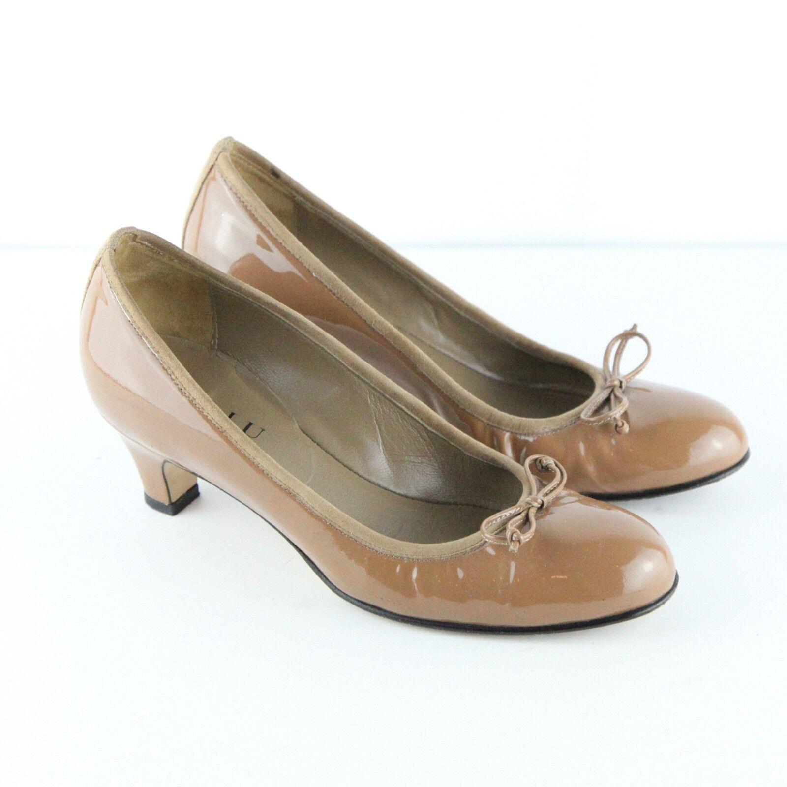 Anyi Lu Barbara Brown Patent Pelle Kitten Heel Pump Bow Round Toe 35 5