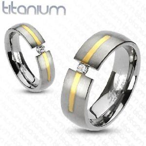 Girls/Ladies Titanium Brushed Gunmetal w Gold & CZ in Tension Accent Ring Size 5