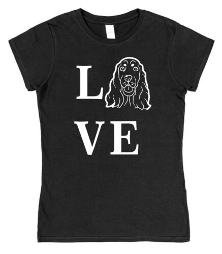Love Spaniel Dog Ladies Fitted T-Shirt gordon setter picardy cocker springer