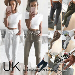 69ab2b003 Image is loading UK-Womens-High-Waist-Paperbag-Trousers-Ladies-Striped-