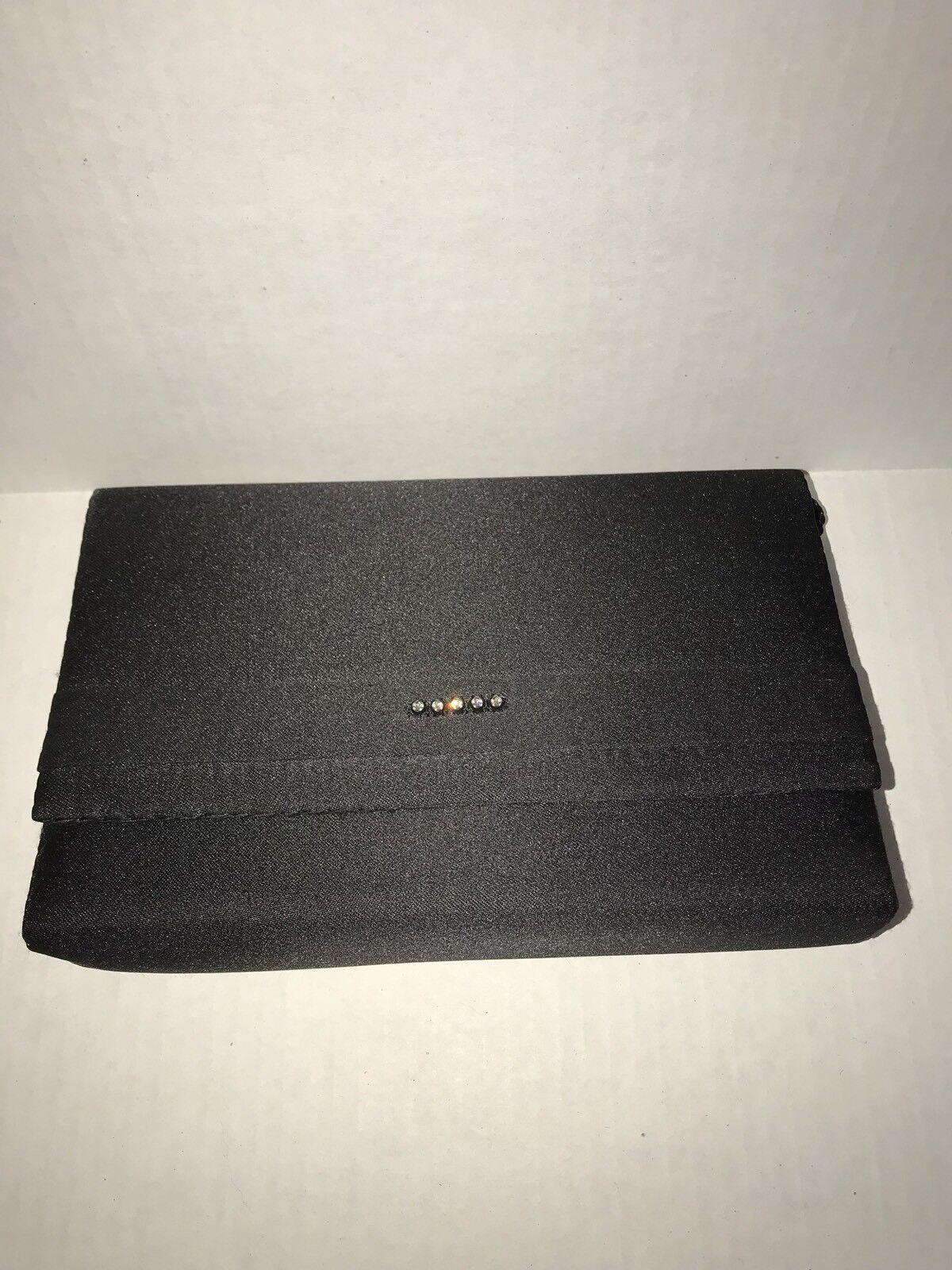 (2) Vintage LA REGALE Clutch Purse Evening Bags Black Beaded Satin