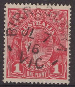 Victoria-BIRREGURRA-1916-unframed-cancel-on-KGV-1d-red