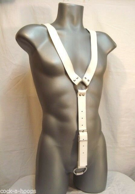 Men's White Leather Exotic Y Adjustable Body Harness Costume with C-Ring
