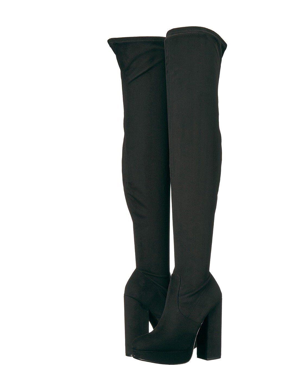 NEW STEVE MADDEN 130 BLACK SOPHIA PLATFORM OVER THE KNEE BOOTS Schuhe SZ 10