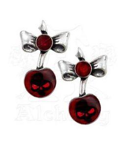 Black-Cherry-Studs-Earrings-Alchemy-Gothic-UL17-Skull-Jewellery-ULFE20