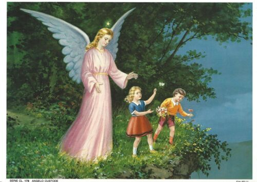 "Catholic Print Picture GUARDIAN ANGEL w girl & boy 10 x 7 12"" ready to frame"