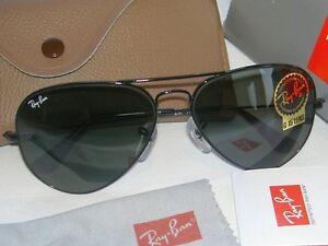 rb3025 g15  New Ray Ban AVIATOR Sunglasses BLACK FRAME 58mm Medium RB 3025 ...
