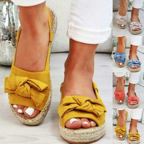 New Womans Flatform Sliders Bow Mule Summer Sandals Espadrille Shoes Sizes 3-8