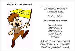 Personalised Retirement Party Invitations Invites with envelopes 4541PC