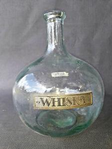 Détails sur Ancienne carafe à whisky en verre, art de la table vintage old French whiskey