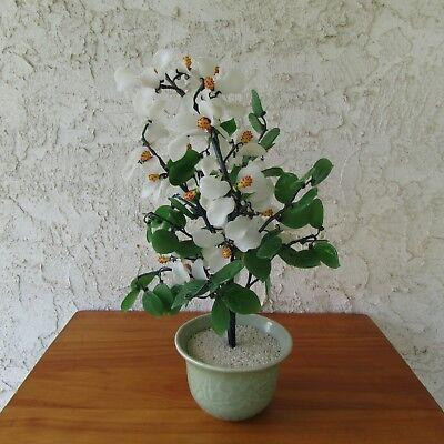 Vintage Jade Bonsai Tree White Glass Flowers Yellow Centers 16 Tall Celadon Pot Ebay