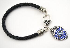 Police-Lives-Matter-Thin-Blue-Line-Officer-Badge-Leather-Braid-Charm-Bracelet