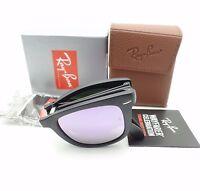 Ray Ban Folding Wayfarer 4105 601s/4k Matte Black Lilac Sunglasses Authentic