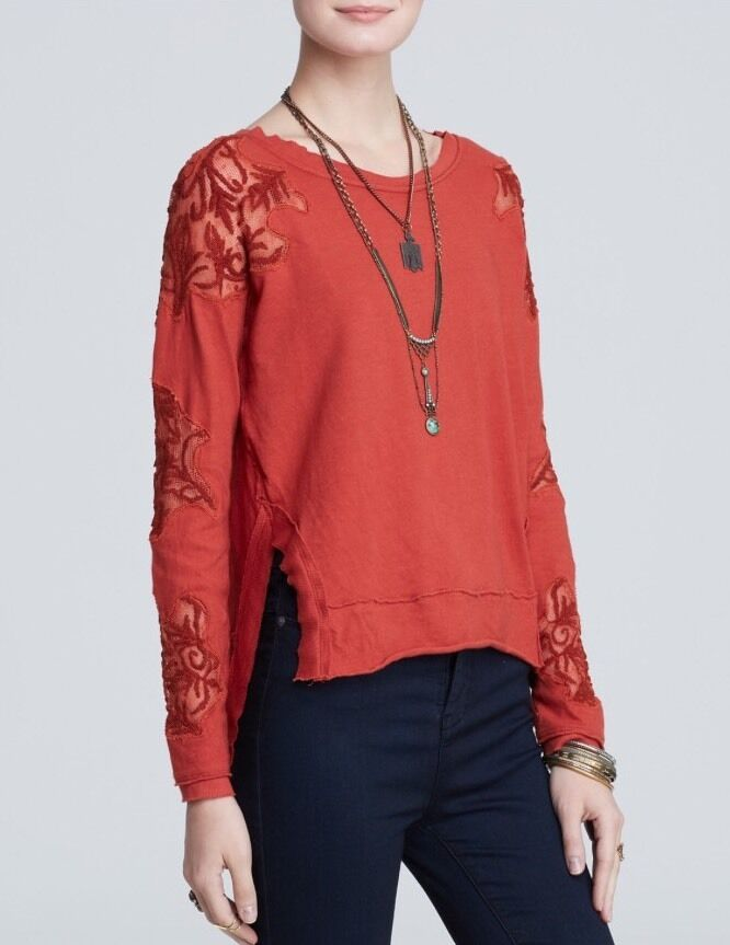 NWT We The Free People Outer Sunset Top Lace Cutout Red Rust Cotton Casual XS