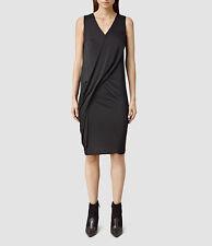ICONIC ALL SAINTS ANNIS BLACK KNEE LENGTH DRESS SLIP PENCIL SKIRT MIDI XS 6 BNWT