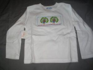 Smocked-Girls-Long-Sleeve-Tee-Shirt-size-4-PEACOCKS-NEW-Vive-La-Fete-Cotton