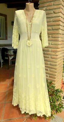 Angemessen Italy Maxi Kleid Elisa Spitze Tüll Futter Romantik Viskose Vanille Eg 36-42 Den Speichel Auffrischen Und Bereichern