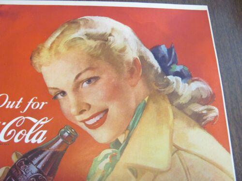 Coca Cola Vintage 1948 NOS 11 x 16 Unused Football Program Page