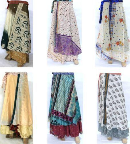 Indian Vintage Silk SariWrap Skirt Women Wholesale Lot 5 Printed Reversible Wrap