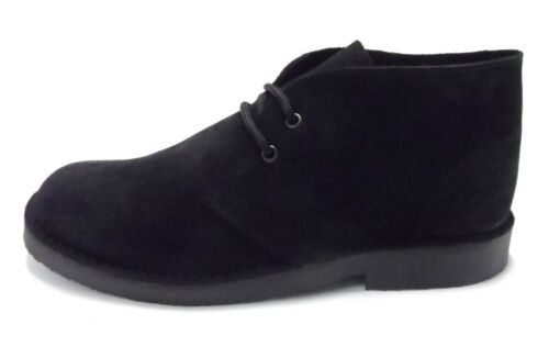 Mod Style Desert Suede Real Retro Black 70s Boots gwSqnv