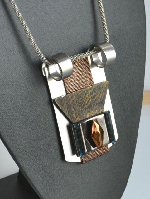vintage artisan statement modernist necklace geometric pendant glass mixed metal