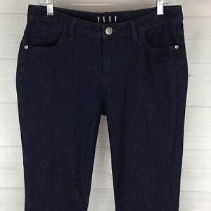 ELLE-Womens-Sz-8-Long-Stretch-Bootcut-Solid-Dark-Blue-Wash-High-Rise-Denim-Jeans