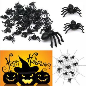 50pcs-New-Plastic-Black-Spider-Trick-Toy-Party-Halloween-Haunted-House-Decor-FR