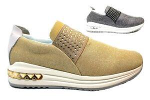 CAFeNOIR-MDA945-Argento-e-Oro-Sneakers-Scarpe-Donna-Comode-Fashiom