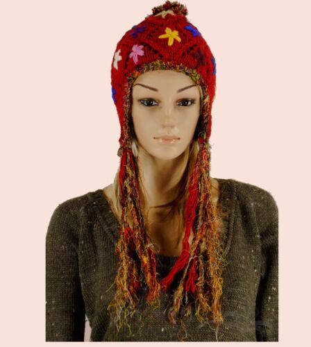 * bäres Hiver Bonnet Polaire Intérieur Népal Hippie Ethno Femmes Cap