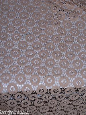Orig. 50er 60er Jahre Stoff Deko Spitze beige  ca Länge 200 x90 cm  B78/14