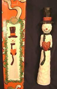 Vintage 10 Carved Look Resin Pencil Snowman Snow Man Figurine Ebay
