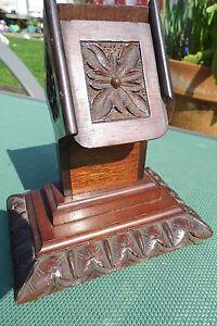 Art-Nouveau-VESTA-match-dispenser-CARVED-wooden-safe-antique-table