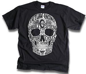 Big-Skull-Biker-Outlaw-Custom-Built-for-Speed-Mens-Black-T-Shirt-Sm-3XL