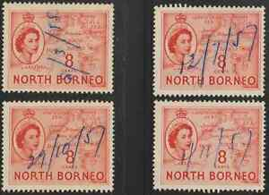 NORTH-BORNEO-1954-QE-II-PICTORIAL-DEFINITIVE-8cX4-FISCALLY-USED-WITH-PEN-CANCEL