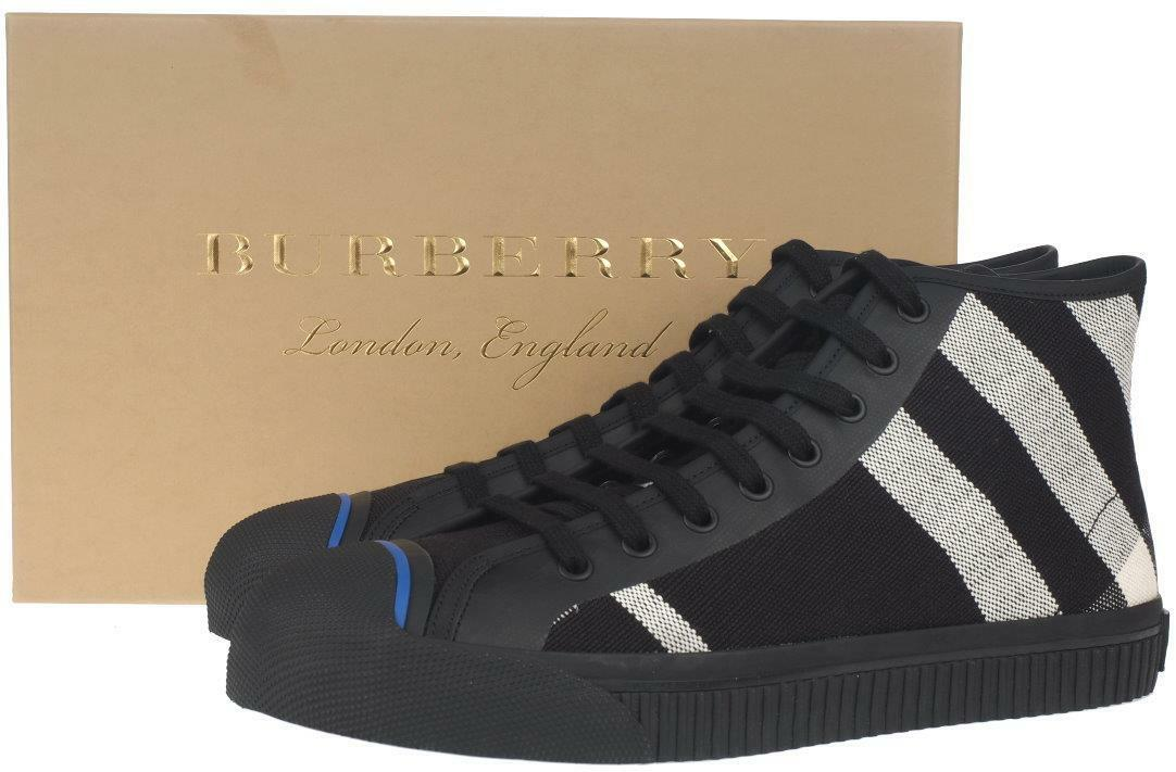 NEW BURBERRY MEN'S  KIRK  HIGH TOP CANVAS LEATHER CHECK SNEAKERS SHOES 40 7