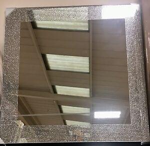Modern luxury silver glitter square mirror new boudoir girls bedroom hall 45cm ebay for Silver sparkle bathroom mirror