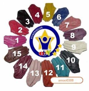 New-Women-039-s-100-Real-Sheepskin-Half-Palm-Five-Finger-Leather-Gloves