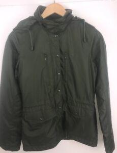 a7a7563c3019e7 Women s Lacoste Hooded Rain Coat Jacket Size 34 Forest Green