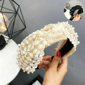 Bands-Headband-Hoop-Accessories-Women-039-s-Hairband-Hair-Knot-Pearl-Lace-Tie-Floral