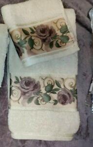 CROSCILL CHAMBORD CASSIS AMETHYST PURPLE  ROSE 2 PIECE TOWEL SET