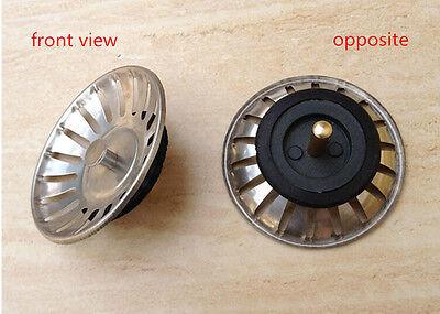 Kitchen AU  Basin Drain Dopant Sink Strainer Basket Leach Waste Plug Steel WO