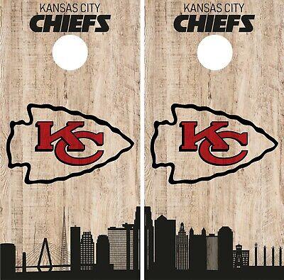 Kansas City Chiefs Cornhole Wrap Nfl Game City Skyline