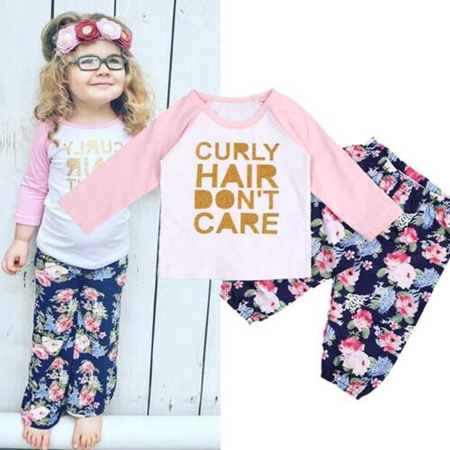 Toddler Kids Baby Girls Bronzing Letter Outfits T-Shirt Tops Pants Set Clothes