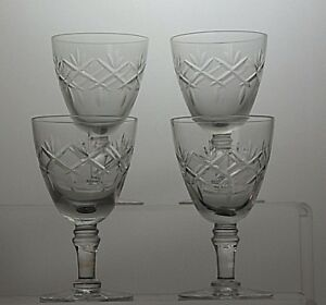 STUNNING-CUT-GLASS-CRYSTAL-SHERRY-PORT-GLASSES-SET-OF-4