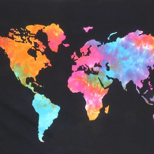 World Map Poster Tapestry Hippie Wall Hanging Art Kids Room Bedroom Home Flag