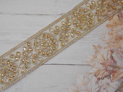 1m gold crystal indian flower paisley braid beaded lace bridal wedding xmas