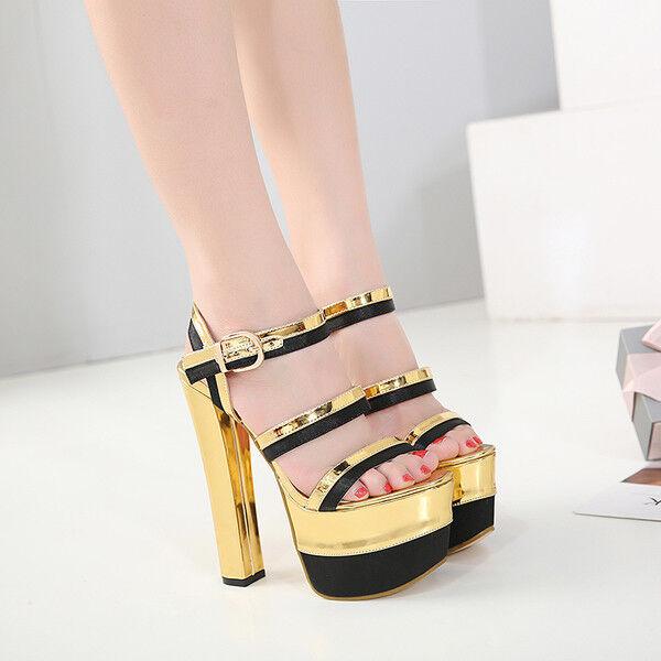sandalias talón cuadrado 16 elegantes cm elegantes 16 negro oro plataforma como piel 9758 599771