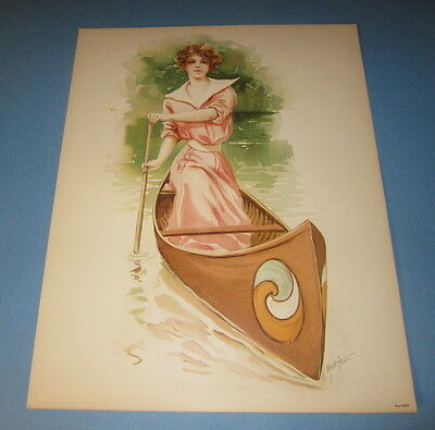 Old Vintage 1908 Antique - VICTORIAN PRINT - Sporting Girls - LADY in CANOE