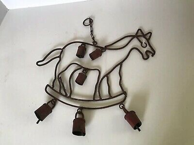 Primitive Vintage Wind Chimes Horse Shape Old Red Paint Cowbells Wall Decor Ebay