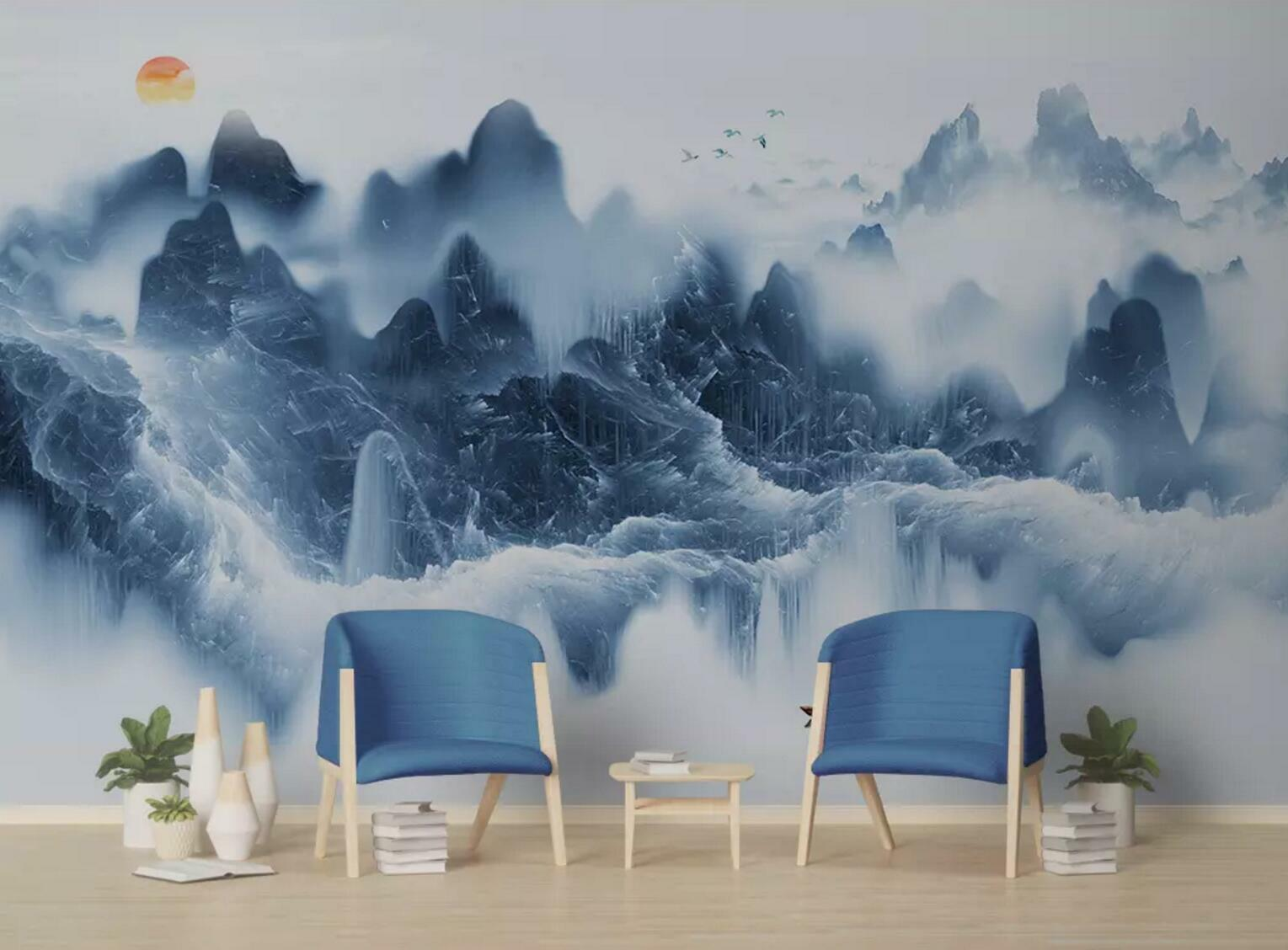 3D Sun Fog Mountains 6 Wall Paper Exclusive MXY Wallpaper Mural Decal Indoor AJ